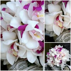 Flowers n Feathers: White and purple orchids - wedding bouquet