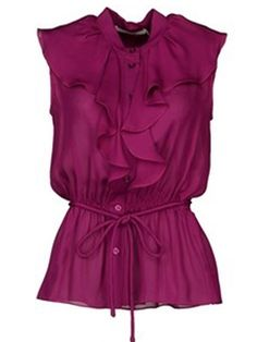 Ericdress Solid Color Frill Slim Blouse