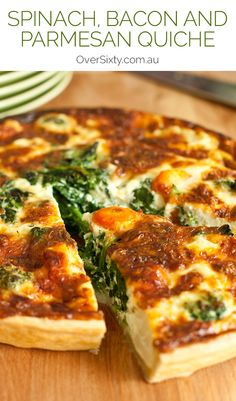 Spinach, Bacon and Parmesan Quiche - This easy, filling spinach, bacon and…