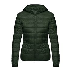 Women's basics puffer down coat, packable long sleeve jacket for daily wear. Warm casual jacket for winter. A cozy down-filled jacket gets a sporty upgrade with a mix of smooth neoprene and classically quilted panels. An attached hood and thumbhole cuffs make sure your extremities stay as warm as your core
