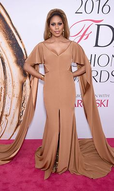 Laverne Cox made her CDFA debut in this elegant fawn-colored number.
