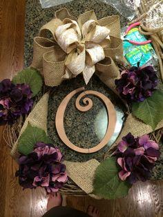 My fall door wreath withy wedding flowers in it:)
