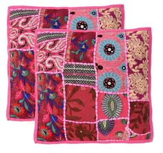 """Handmade Khambodia Patchwork Indian Cushion Cover Decor Pillow Case 16"""" 2 Pcs #Handmade #Indian Patchwork Cushion, Embroidered Cushions, Pillow Inserts, Pillow Covers, Sofa, Decoration, Decorative Pillows, Cotton Fabric, Ebay"""