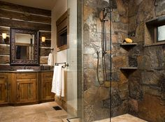 Square logs and rock shower, very masculine look.