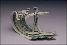 Ornament - Money Origami Surfer