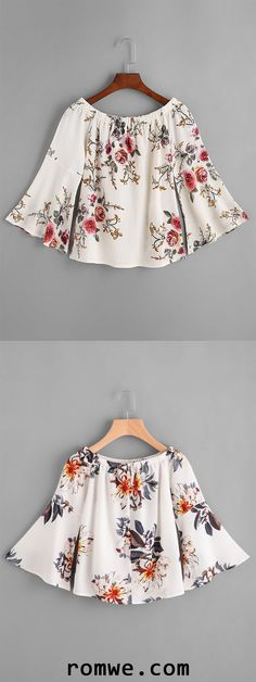 Shop Boat Neckline Florals Bell Sleeve Top at ROMWE, discover more fashion styles online. Tumblr Outfits, Boho Outfits, Cute Outfits, Fashion Outfits, Tween Fashion, Boho Fashion, Fashion Trends, Latest Street Fashion, Popsugar