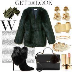 Green & Gold by michaela-schuerger on Polyvore featuring moda, THP, Schutz, Calvin Klein, Oscar de la Renta, Isabel Marant, Nadri, Yves Saint Laurent and Bobbi Brown Cosmetics