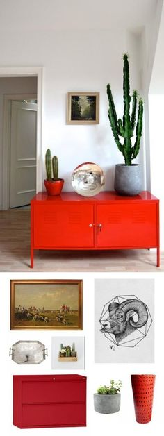 We think an interior with bright red accents, reflective pieces (Aries' birthstone, after all, is the diamond), strong concrete and stone planters, and hearty cacti reflects this powerful sign nicel