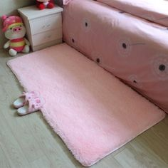 Soft Shaggy Fluffy Rugs Anti-Skid Area Rug Dining Room Carpet Home Bedroom Floor Mat,Pink color - Walmart.com