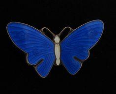 Vintage Thune Norway Guilloche Enamel Sterling Butterfly Pin | eBay