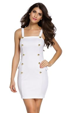Gold Button Fly Side Mock Pocket Mini Dress