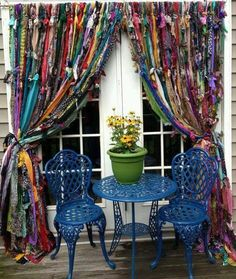 Bohemian Valhalla: Boho Rag Curtains And My Fabric Obsession curtain? Rag Curtains, Hippie Curtains, Green Curtains, Sewing Curtains, Window Curtains, Curtains Living, Beaded Curtains, Blackout Curtains, Patterned Curtains