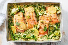 Creamy lemon salmon tray bake