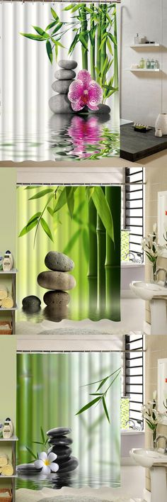 [Visit to Buy] Bamboo Water Fountain Japanese Flower Zen SPA Garden Relaxing Fabric Shower Curtain Set for Bathroom Decor Product #Advertisement