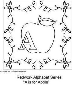 apple redwork embroidery patterns, embroideri pattern, appl
