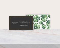 PRINTABLE Marina Topical EDITABLE TEMPLATE double sided business card