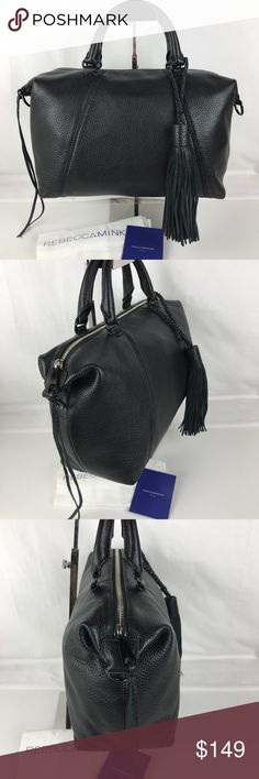 """Rebecca Minkoff Isobel Black Leather Satchel Rebecca Minkoff Isobel Black Leather Satchel  Style HF16MPBS52. Authentic. New, without tag. Original Dust Bag included.  1""""W x 7""""H x 4 ½""""D 4"""" strap drop; 22"""" - 25"""" crossbody strap drop 1 interior zipper pocket 2 interior phone pockets Genuine pebbled leather Custom black hardware RB1103158  Enjoy fast shipping and epic customer service from a trusted 5-star Poshmark Ambassador with over 950 handbags sold to date! Rebecca Minkoff Bags Satchels"""