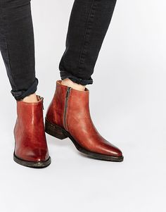 Image 1 ofSelected Femme Bobi Cognac Leather Ankle Boots
