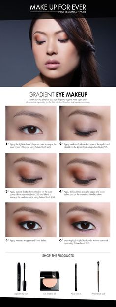 Gradient Eye Makeup: Use this technique to give the illusion of wider set eyes. How To, courtesy of Make Up Forever, Sephora makeup tutorial