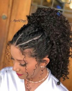 Cute Curly Hairstyles, Side Hairstyles, Curly Hair Tips, Baddie Hairstyles, Long Curly Hair, Curly Hair Styles, Natural Hair Styles, 3b Hair, 1950s Hairstyles