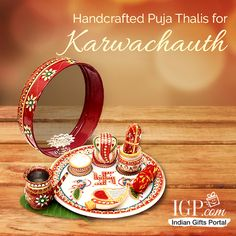 Handcrafted Puja Thalis for Karwachauth Diwali Hindu, Diwali Diy, Happy Diwali, Janamashtami Decoration Ideas, Diy Diwali Decorations, Karwa Chauth Gift, Happy Karwa Chauth Images, Home Wall Painting, Janmashtami Decoration