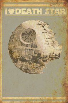 Star Wars print poster movie art of I Heart Death Star Size B. $40.00, via Etsy.