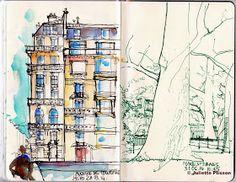 URBAN SKETCHERS FRANCE: Paris, ses beaux immeubles.
