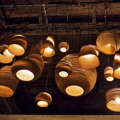 Beautiful ScrapLights by @GraypantsStudio http://www.graypants.com/ These ceiling lights are made from salvaged remnants of corrugated cardboard.
