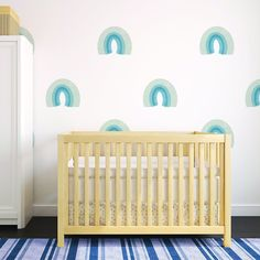 Muted Rainbow Wall Decal Set - Faded Denim - Project Nursery Nursery Wall Art, Nursery Decor, Nursery Ideas, Rainbow Wall Decal, Painted Rug, Blue Colour Palette, Project Nursery, Rainbow Baby, Baby Boy Nurseries