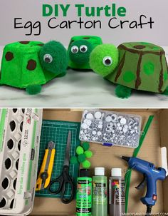 All youll need is a few items you most likely have in your craft closet along with an empty cardboard egg carton. Heres how to make these DIY turtles! Diy Projects For Kids, Kits For Kids, Crafts To Do, Diy Crafts For Kids, Craft Ideas, Baby Tortoise, Turtle Crafts, Egg Carton Crafts, Educational Crafts