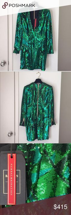 Balmain x hm Green Sequin Kendall Dress Short body con dress.  Works with large or flat chests.  New with tags.  Nicely lined no bra needed.  Fits tight and short but upsizing is not needed. Balmain Dresses Mini