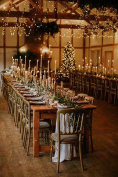Winter Barn Weddings, Winter Wedding Receptions, Elegant Winter Wedding, Wedding Reception Decorations, Rustic Wedding, Wedding Ideas, Table Decorations, Christmas Wedding Themes, Winter Themed Wedding
