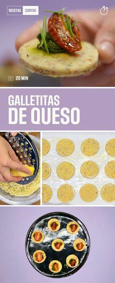 Una receta para preparar en cualquier momento y comer en cualquier momento. Galletitas de queso súper fáciles y sabrosas para llevar a cualquier lado.