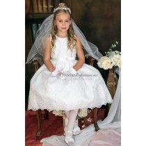 This tea length first communion dress features Corded tulle with sequins on satin bodice, satin waist trim, Satin bow with rhinestone brooch. fully lined organza skirt Zipper back and satin tie back in the back. Shop Plus Size First Communion Dresses Girls First Communion Dresses, First Communion Veils, Holy Communion Dresses, Size 14 Dresses, Dresses For Sale, Girls Dresses, Flower Girl Dresses, Dress Making, Size 12