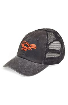 Men's American Needle 'Baltimore Orioles - Raglan Bones' Mesh Trucker Cap - Black
