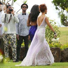 The Bad Gal Riri wore a stunning lavender gown at this Hawaiian beach wedding: