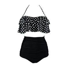 Rotita Ruched Polka Dot Print Two Piece Swimwear ($28) ❤ liked on Polyvore featuring swimwear, bikinis, black, strappy bikini, print swimwear, strappy swimwear, scrunch swimwear and ruched swimwear