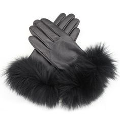 - Leather glove with fox fur top. - Fabrication: 100% Sheep Skin Leather &…