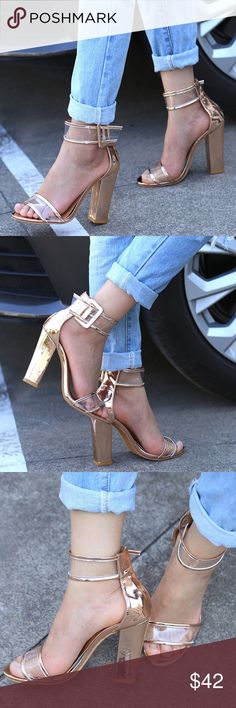 """Staple Buckle Block Heel arriving, incredibly gorgeous block heel & clear strap for a stunning look to spice up your casual wear, this listing is for the gold, get the other colors in a separate listing  ❤Add this to your """"likes"""" to get sales news. Optional: Purchase """"arriving"""" items now & I'll automatically ship them to you when they arrive back in stock. Shoes"""