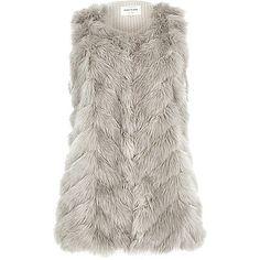 Light grey knit back faux fur gilet ~ £58.00 #riversialnd