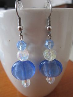 Blue Cat's Eye, Blue Crystal Glass Bead, and White Crystal Glass Bead Hypo-Allergenic Earrings
