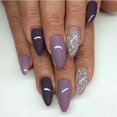 Nails purple almond