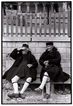 Men in foustaneles, Metsovo, Greece, 1964 - by Constantine Manos USA Kai, Myconos, Greece Pictures, Costa, Greek History, Famous Photographers, Athens Greece, Magnum Photos, Greek Islands