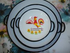 Set of Three White Enamelware Rooster Plates by TheButterflyFlew, $60.00