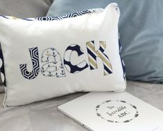 Boy's nautical name cushion & bunting gift set. Perfect gift for a grandchild Nautical Names, Nautical Flags, Initial Cushions, Large Cushions, Cushion Inserts, Cushion Covers, Pirate Treasure, Hand Applique, Personalized Pillows