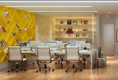 sugestão de decoração para agência de publicidade Home Office, Office Workspace, Small Office, Office Decor, Office Interior Design, Office Interiors, Co Design, Architecture Office, Common Area