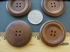 Sewing knitting 8 or 16 large wooden medium brown buttons  5cm 4 holes
