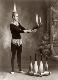 "The juggler J.T. Doyle circa 1902. Photograph by J.E. Pasonault, Cando, N.D. (Cando: ""The Official Duck Capital of North Dakota."")"