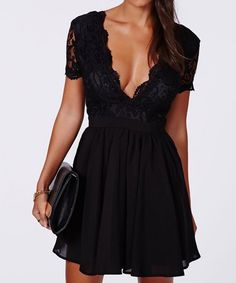 v neck lace black dress