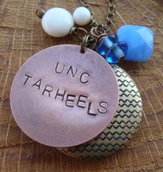 C125 UNC Tarheels Game Day Necklace by OneLastThing on Etsy, $42.00